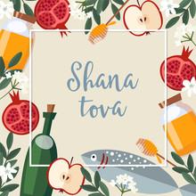 Shana Tova Greeting Card. Jewish New Year Rosh Hashana Invitation With Bottle Wine, Fish, Honey, Apple And Pomegranate Fruit. Vector Illustration Background, Flat Design.