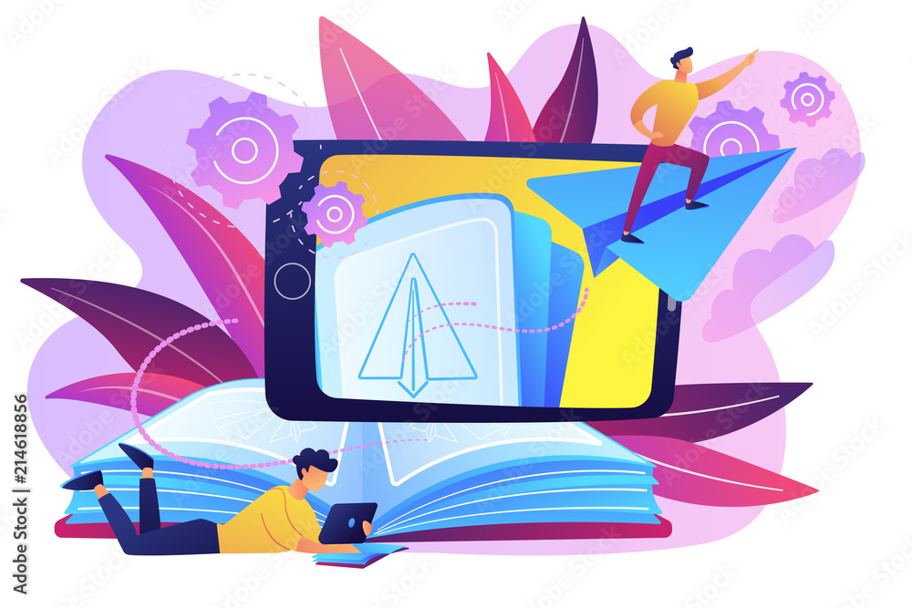 Fototapeta User with book and tablet watching himself flying on paper plane in augmented reality. Virtual reality learning technology, enertainment app concept, violet palette. Vector isolated illustration.