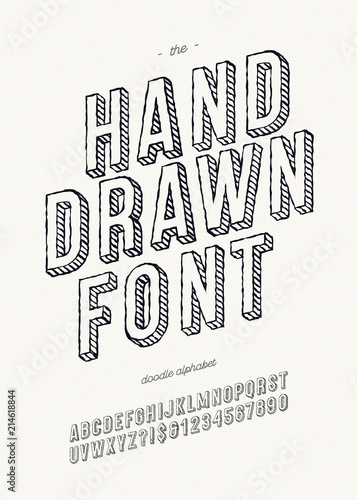 Vector Hand Draw Font 3d For Book Decoration Party Poster
