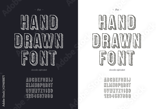 Vector Hand Draw Font Set For T Shirt Book Decoration