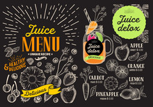 Juice Smoothie Menu For Restaurant And Cafe. Vector Drink Flyer. Design Template With Vintage Fruit Hand-drawn Illustrations.