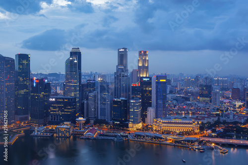 Photo Stands Bangkok Singapore - February 26 2017: Aerial view of Singapore business district and city at night