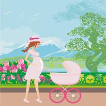 Beautiful Pregnant Woman Pushi...
