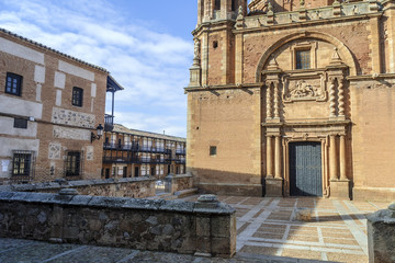 Fototapeta na wymiar church of Christ in the main square of the Middle Ages in the town of San Carlos del Valle, Ciudad Real, Spain