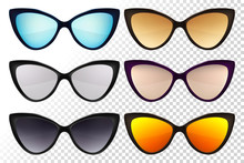 Sunglasses Set. Trendy Sunglasses Colors. Summer Eyeglasses. Fashion Collection. Summer Vacation Item. Sunglasses For Tropical Trip. Cat Eye Rim Style. Retro Trend Vector.