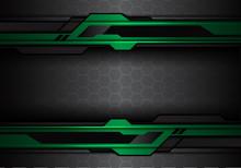Abstract Metallic Green Black Futuristic Polygon Line On Hexagon Mesh Pattern Design Modern Technology Background Vector Illustration.