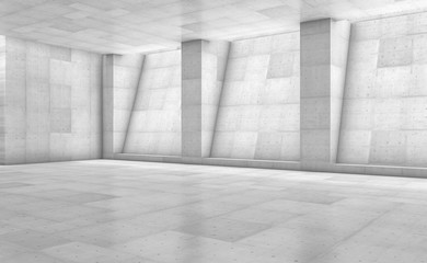 Abstract concrete showroom with columns. Modern geometric design. White floor and wall background. 3d rendering