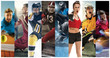 canvas print picture - Sport collage about soccer, american football, basketball, tennis, boxing, ice and field hockey, table tennis