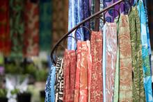 Handmade Scarves On Display At...