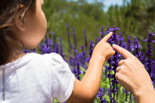 Mother and daughter playing in a flower field. little girl learning about flowers. curious about nature. enjoying the outdoors.