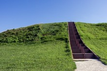 Stairs Leading To The Top Of Pre-columbian Indian Mound Structure At Cahokia Mounds State Historic Site In Illinois