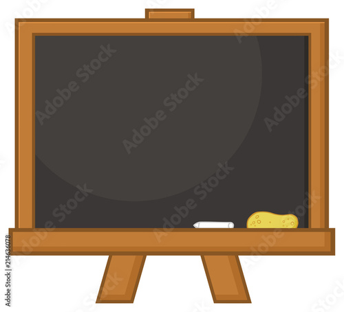 Fotografie, Obraz  Blank Black Classroom Chalkboard Cartoon Design