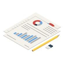 Diagram Paper Icon. Isometric ...