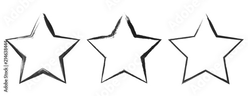 Obraz Grunge star banners, logos, icons, labels, badges, insignias, post stamps collection set of three blank shapes vector distress textures flat silhouette black watercolor or ink hand drawn. - fototapety do salonu