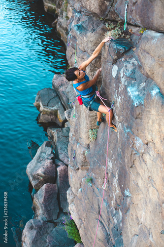 Staande foto India A climber above the water.
