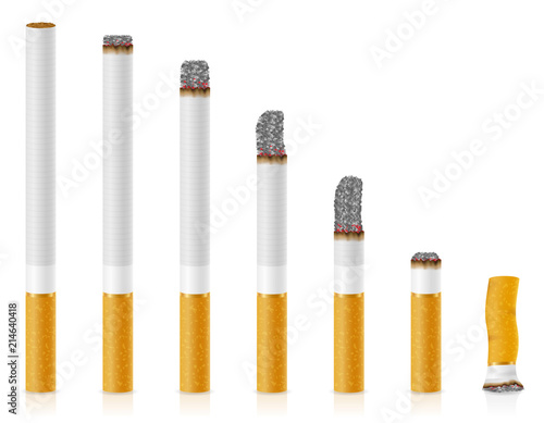 Fotografiet smoldering cigarettes of different lengths stock vector illustration