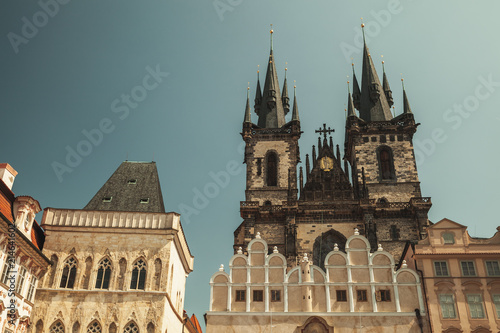 Staande foto Praag Church of Mother of God before Tyn, retro