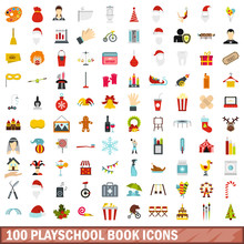 100 Playschool Book Icons Set In Flat Style For Any Design Vector Illustration