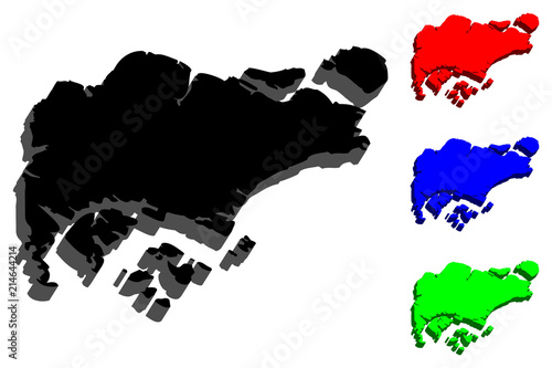 Photo  3D map of Singapore (Republic of Singapore) -  black, red, blue and green - vect