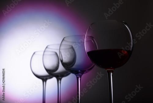 Foto op Plexiglas Bar Glasses of red wine.