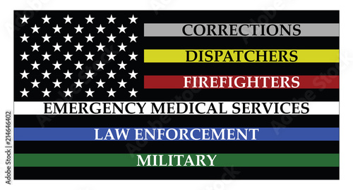 Fotografía  United states of America flag with colored lines represent corrections, dispatch