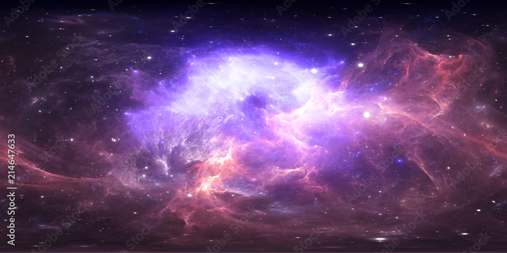 Fototapety, obrazy: 360 degree space nebula panorama, equirectangular projection, environment map. HDRI spherical panorama. Space background with nebula and stars.