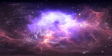 Fototapeta Kosmos - 360 degree space nebula panorama, equirectangular projection, environment map. HDRI spherical panorama. Space background with nebula and stars.