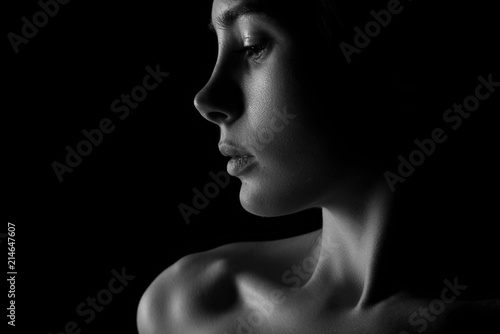 Obraz Face of young sexy woman, erotic art - fototapety do salonu