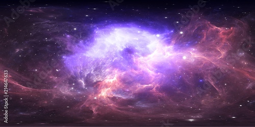 360 degree space nebula panorama, equirectangular projection, environment map. HDRI spherical panorama. Space background with nebula and stars. - 214647633