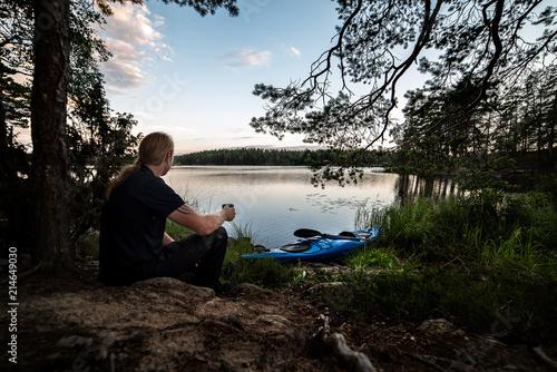 Fotografie, Obraz  kayaker taking a break