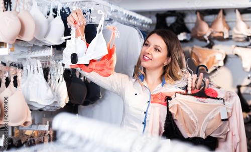 Customer woman in underwear shop - Buy this stock photo and explore ... 15bd37677