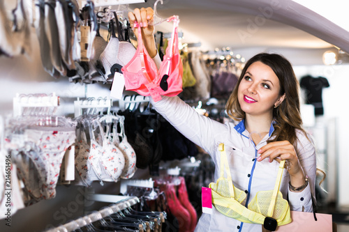 Customer woman in lingerie shop - Buy this stock photo and explore ... d39f377b5