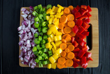 Chopped Fresh Vegetables  On T...