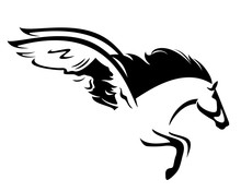 Winged Horse Profile Vector Design - Black And White Pegasus Outline