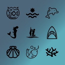 Vector Icon Set About Sea With 9 Icons Related To Icon, Monkey, Image, Hook, Kids, Plant, Carnivore, Light, Black And Extreme
