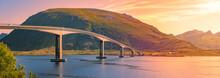 Car On Bridge Road In Norway, Europe