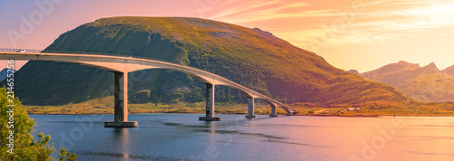 Spoed Fotobehang Bruggen Car on bridge road in Norway, Europe