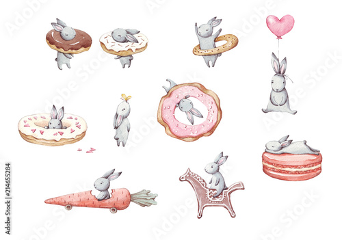 Set of cute cartoon watercolor bunny Fototapeta
