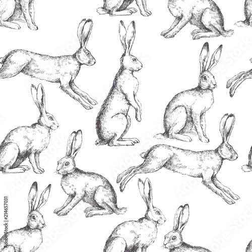 Valokuvatapetti Vector vintage seamless pattern with hares in different actions isolated on white