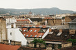 beautiful roofs of old building in Budapest city, travel concept, old european town