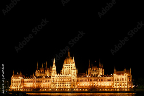 Fotobehang Boedapest amazing night view of parliament building and river and city lights in Budapest city, travel concept, space for text