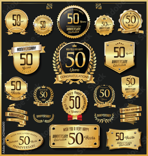 Photo  Anniversary retro vintage golden badges and labels vector 50 years