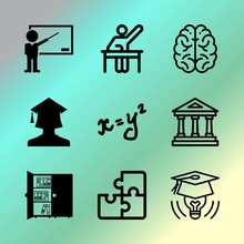 Vector Icon Set About Education With 9 Icons Related To Science, Classroom, Stack, Poster, Schoolchild, Picture, Teddy, Culture, Brainstorm And Cap