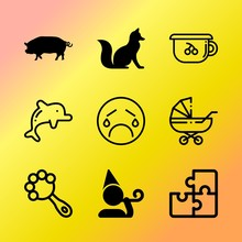 Vector Icon Set About Baby Wit...