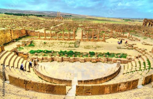 Poster Algérie Timgad, ruins of a Roman-Berber city in Algeria.