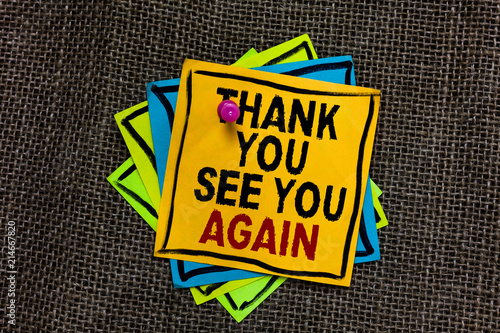 Text sign showing Thank You See You Again Wallpaper Mural