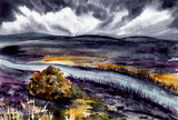 Watercolor Landscape with Mountains and River - 214668000