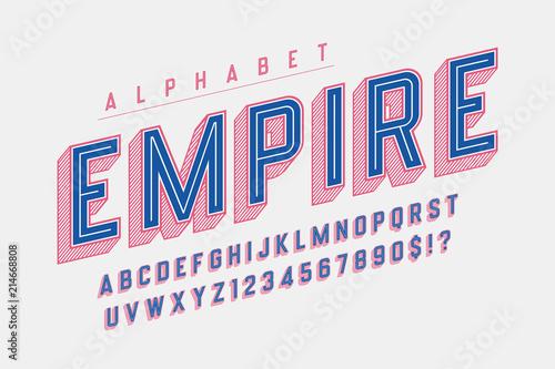 Retro 3d empire display font design, alphabet, letters