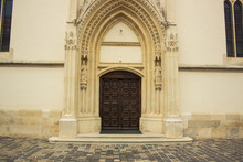 Church Wooden Brown Door In Wh...