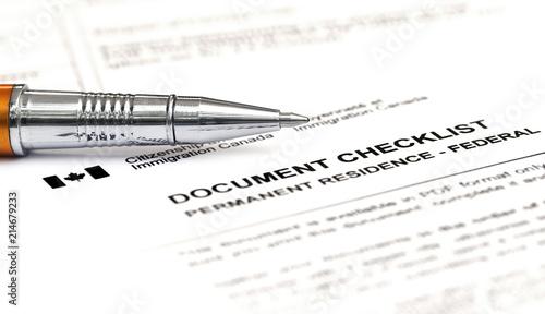 Obraz na plátně  Canada Visa application form checklist